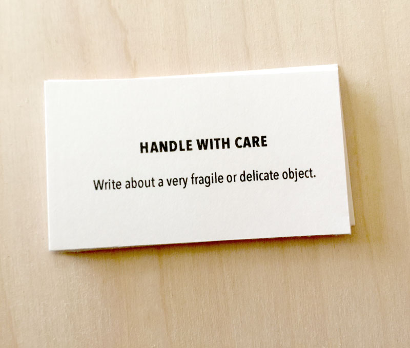 handle with care writing prompt card