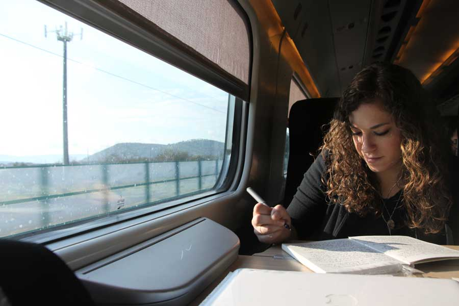 journaling on train